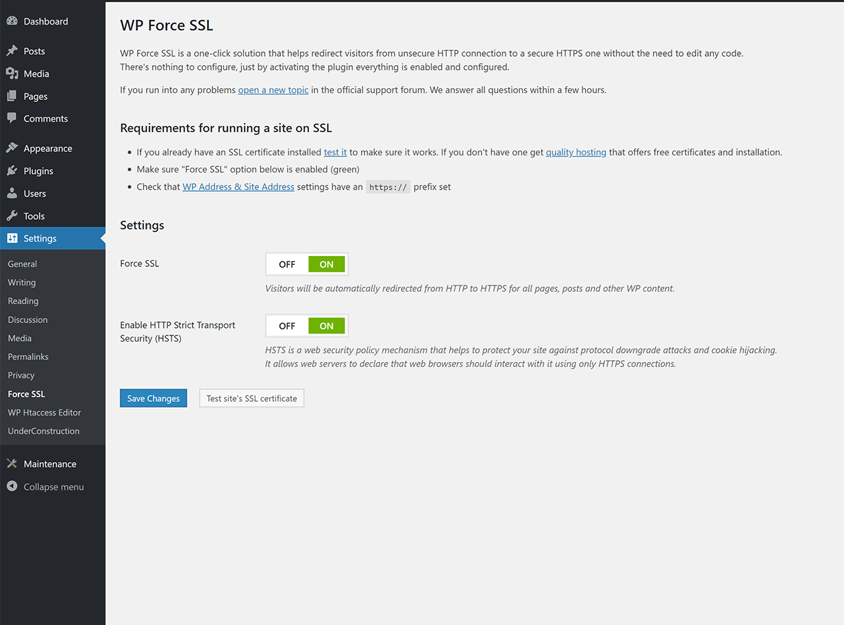 This SSL plugin offers a lot of protection for your web page