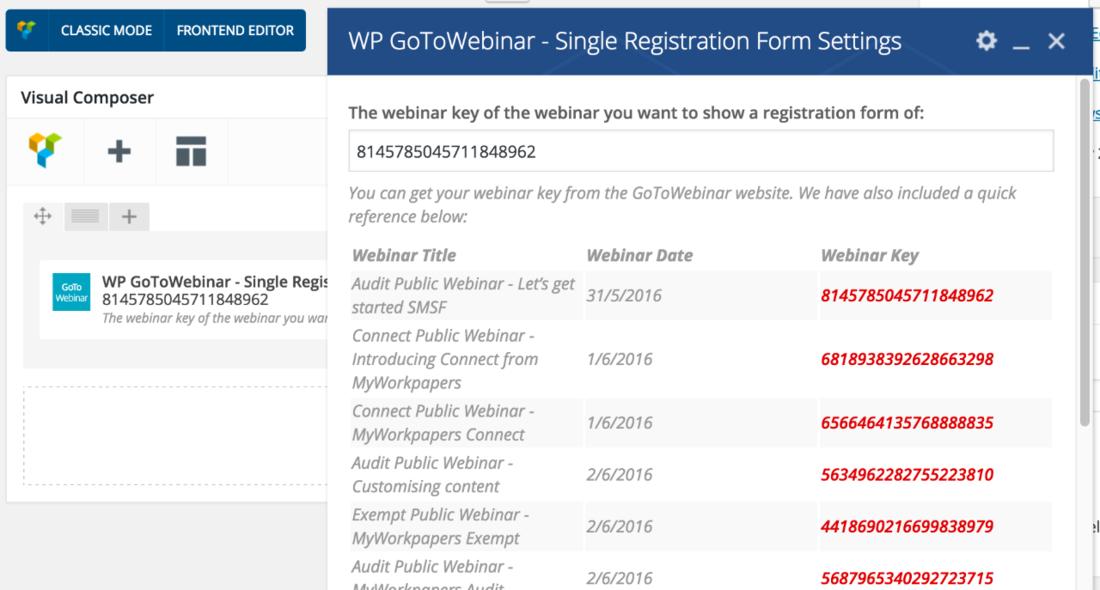 WP GoToWebinar settings