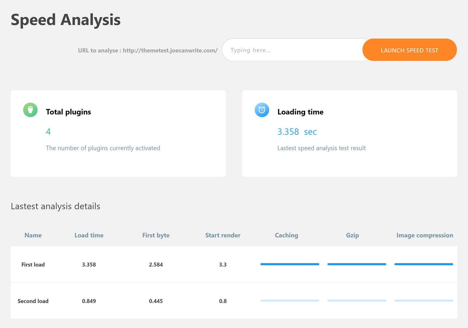 Lista de resultados de velocidad del sitio