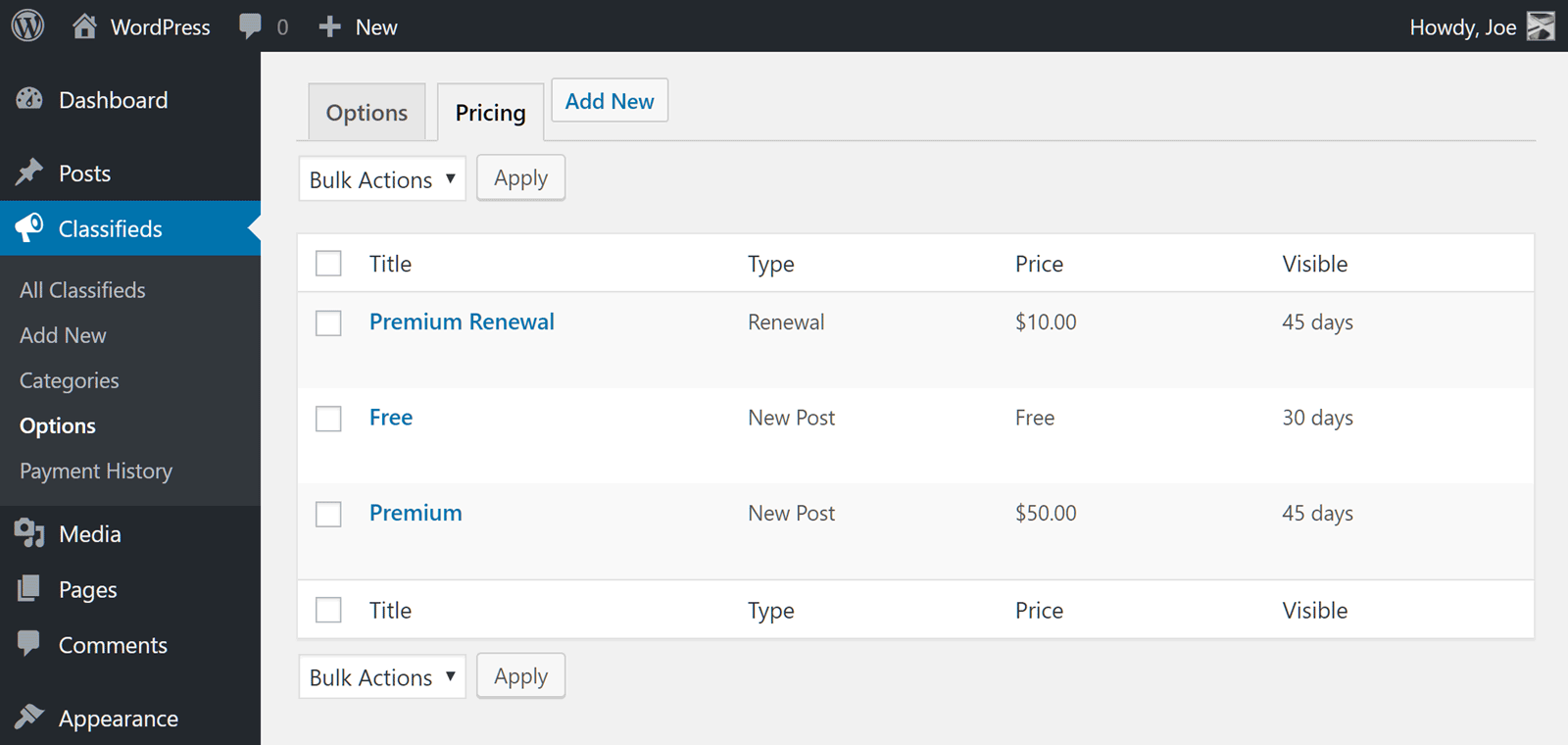 WPAdverts Pricing Plans
