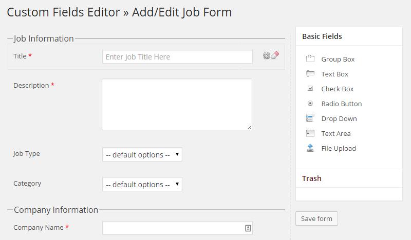 WPJobBoard Form Editor