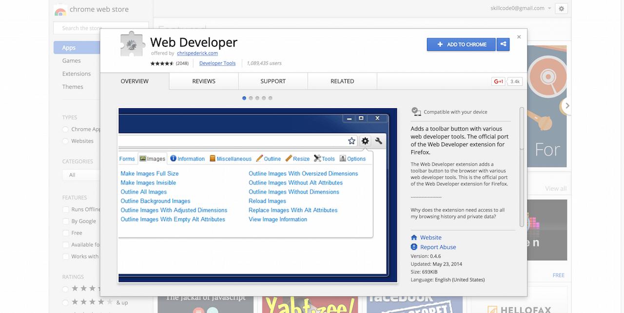Web Developer Chrome Web Store