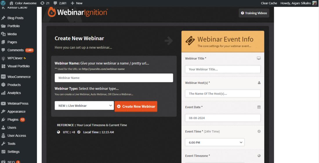WebinarIgnition Settings