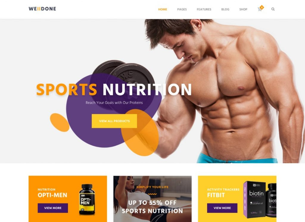 Welldone | Sports & Fitness Nutrition and Supplements Store WordPress Theme