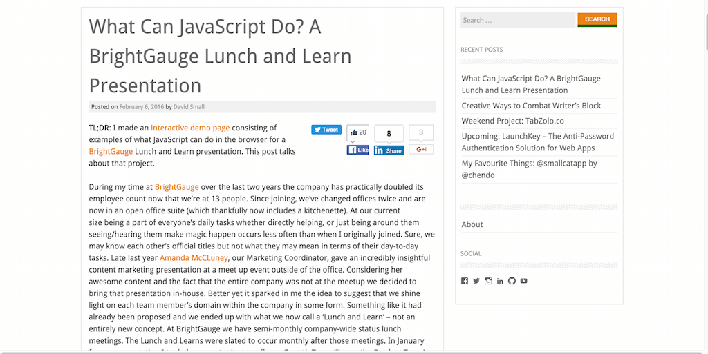 What Can JavaScript Do A BrightGauge Lunch and Learn Presentation