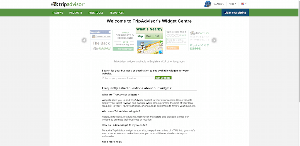 Widget Centre TripAdvisor for Business