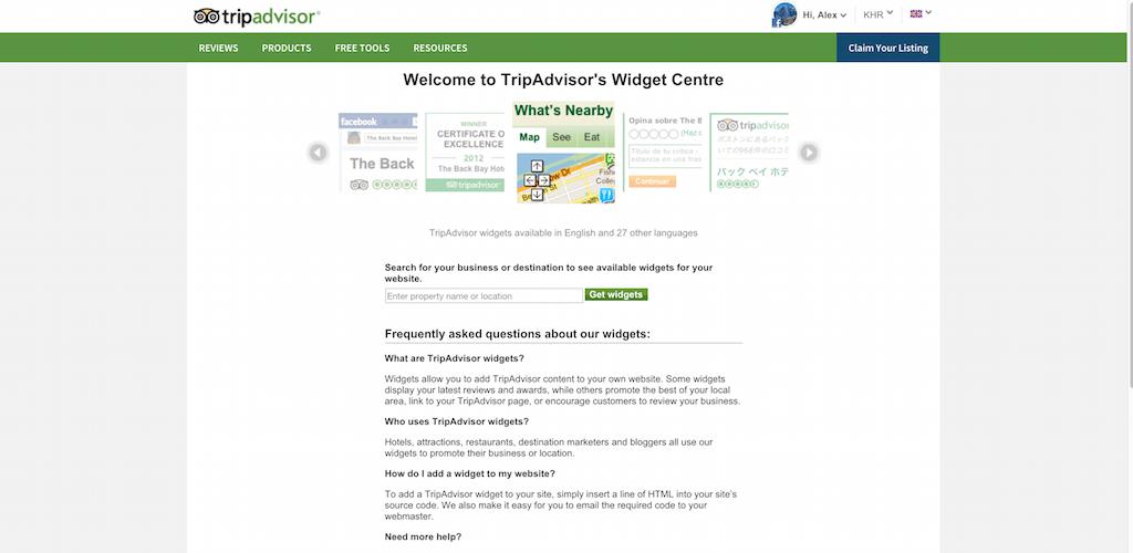 Widget Centre TripAdvisor for Business