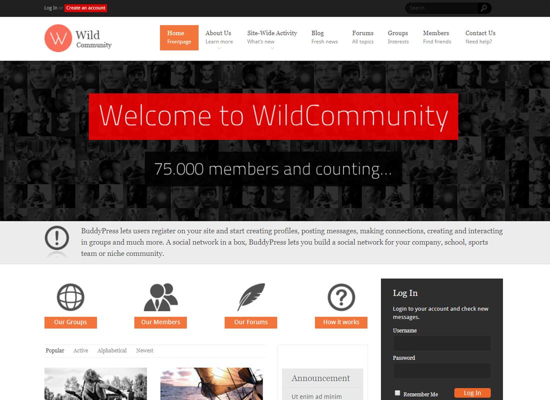 WildCommunity   BuddyPress Community Theme