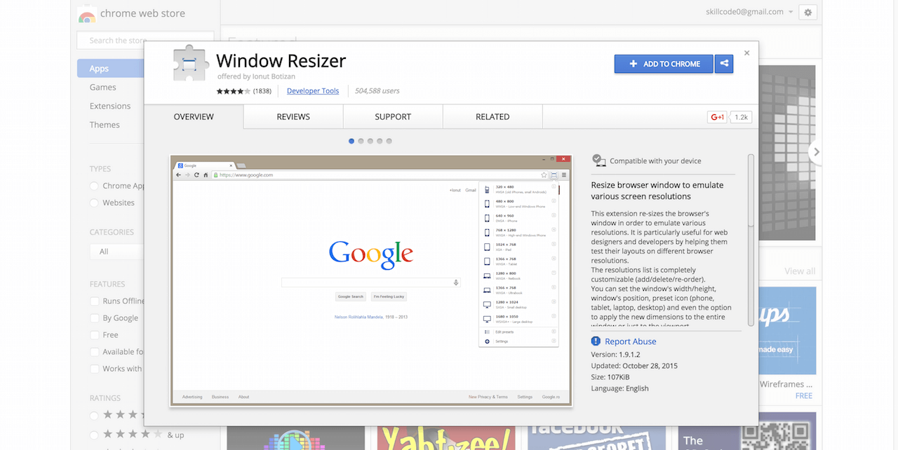 Window Resizer Chrome Web Store