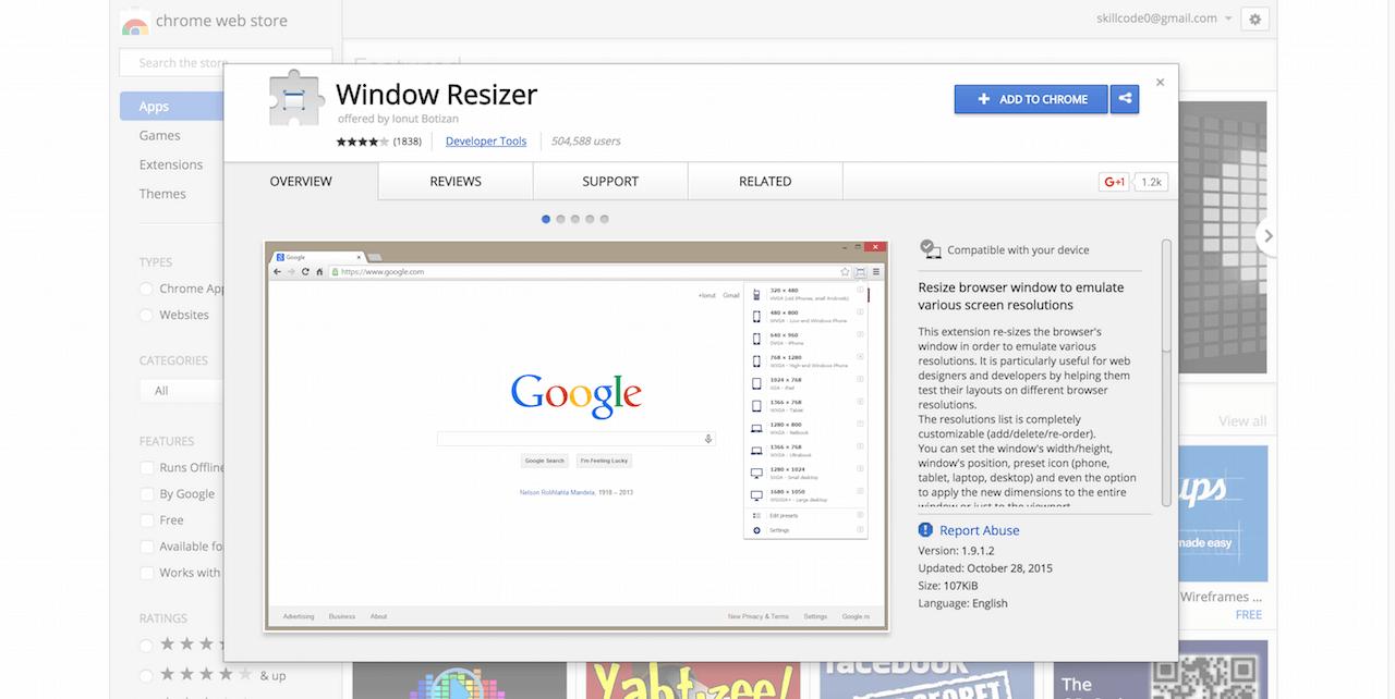 Window Resizer Chrome Web Store
