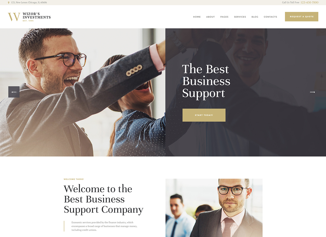 Wizor's - Investments & Business Consulting WordPress Theme