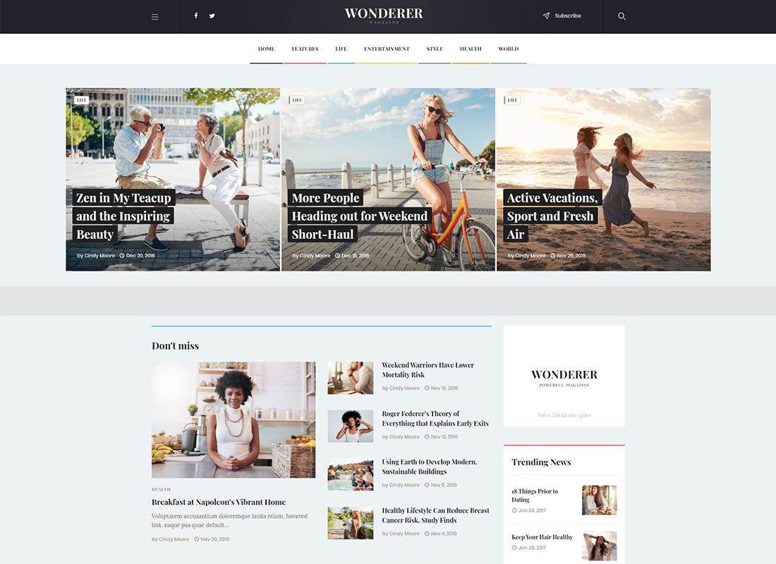 Wonderer - Personal Blog & Review Magazine WordPress Theme