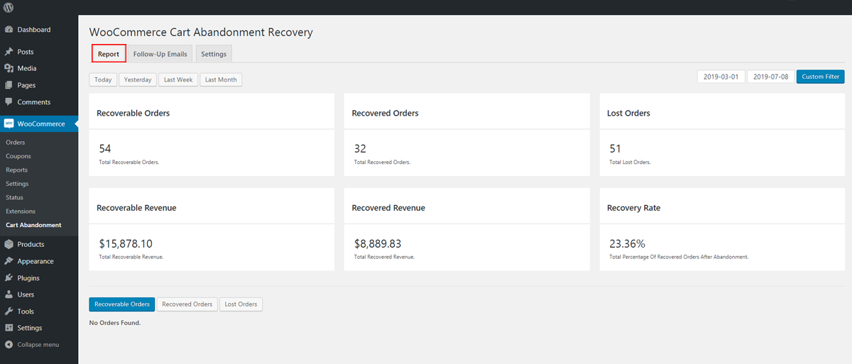 Functional WooCommerce Recover Abandoned Cart