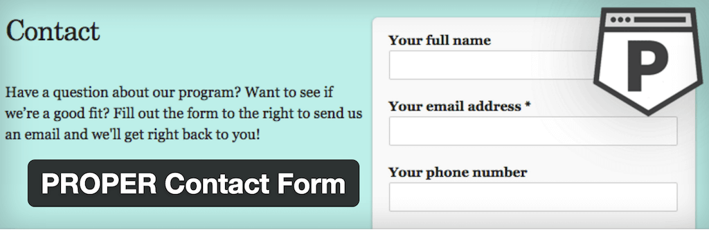 WordPress › PROPER Contact Form « WordPress Plugins