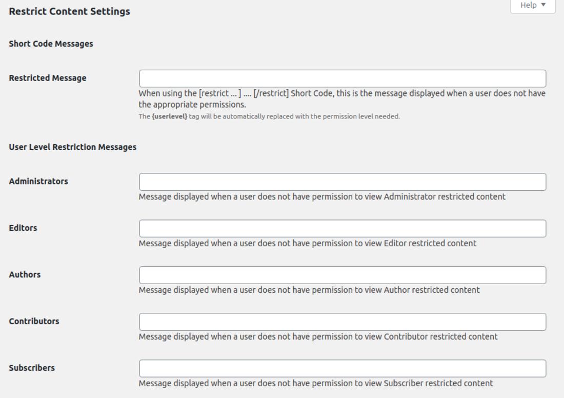WordPress Membership Plugin – Restrict Content settings