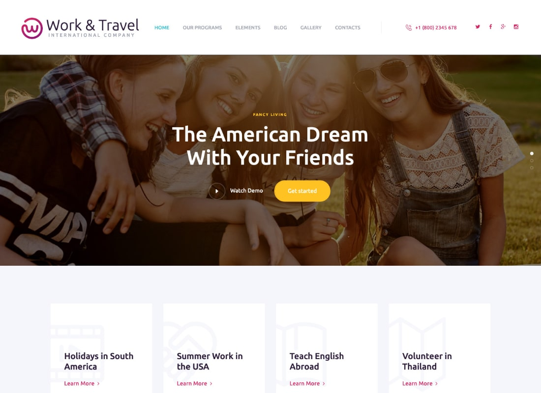 Work & Travel Company & Youth Programs WordPress Theme