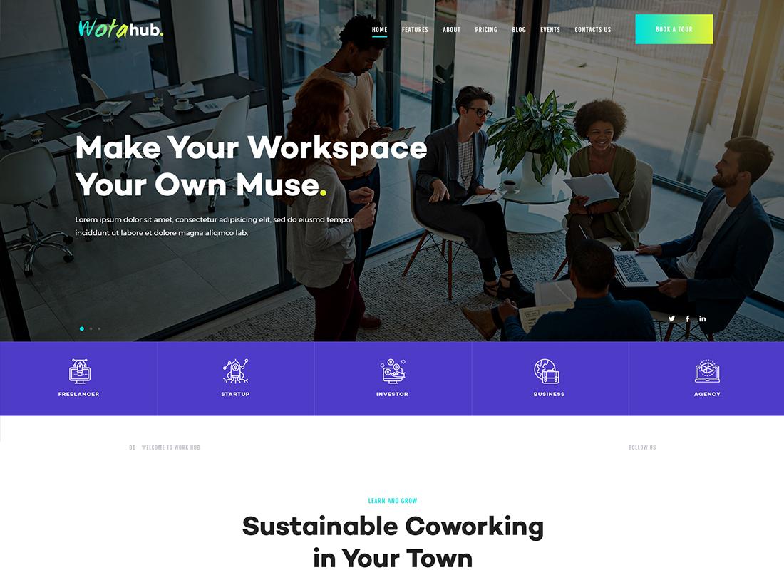 WotaHub - Coworking Space WordPress Theme