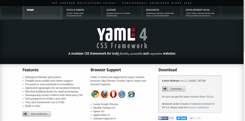YAML CSS Framework — for truly flexible accessible and responsive websites
