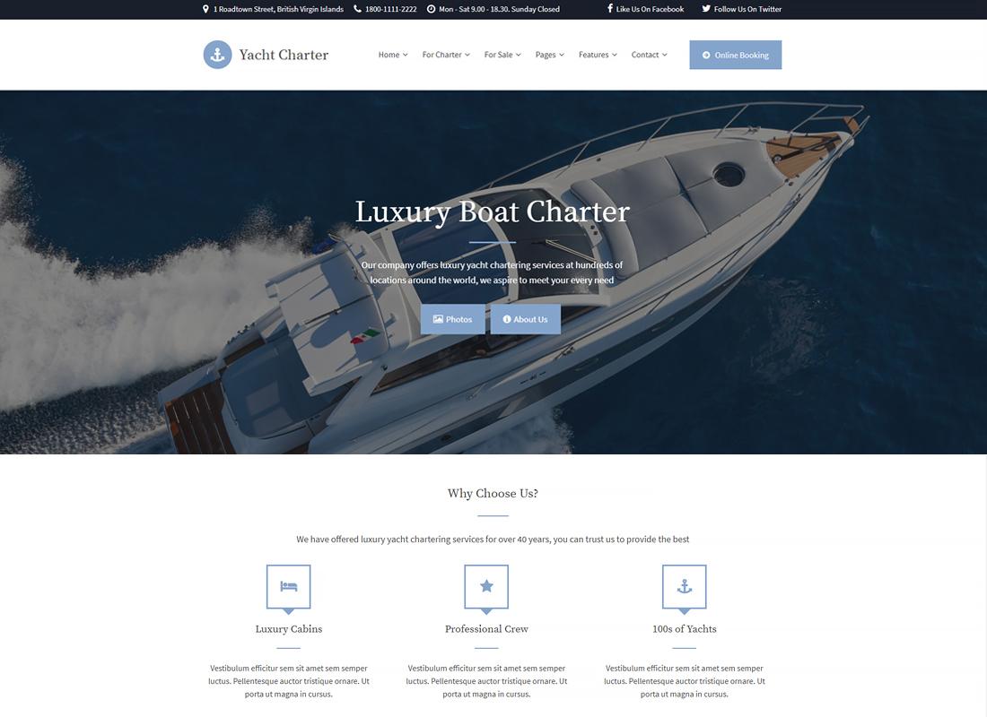 Yacht Charter | WordPress Theme