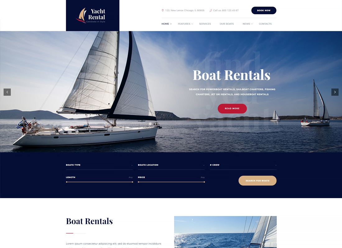 Yacht and Boat Rental Service WordPress Theme