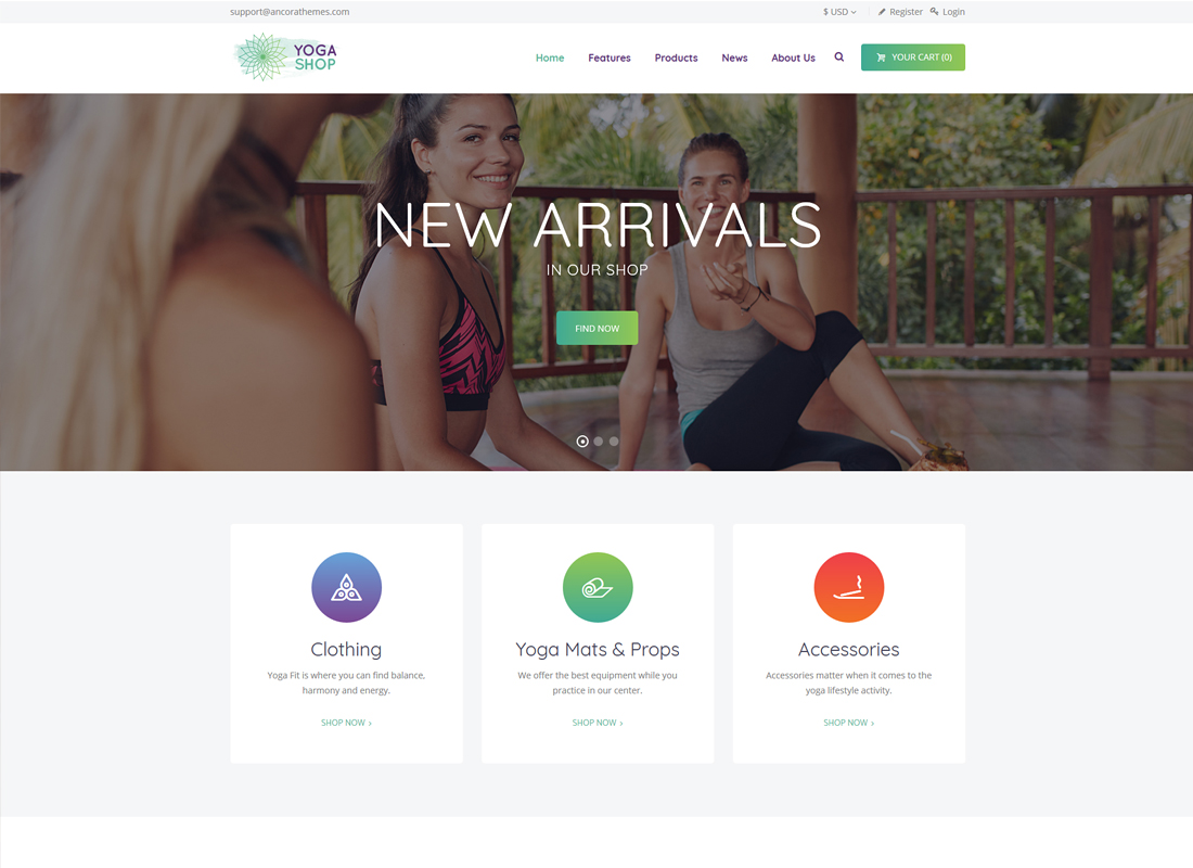 Yoga Shop - A Modern Sport Clothing & Equipment Shop WordPress Theme