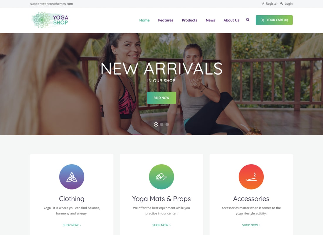 Yoga Shop | A Modern Sport Clothing & Equipment Store WordPress Theme