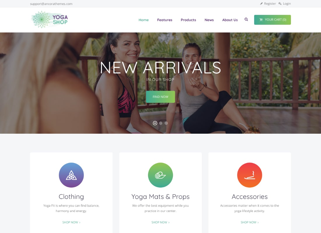 Yoga Shop | A Modern Sport Clothing & Equipment Shop WordPress Theme