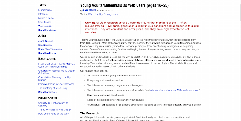 Young Adults-Millennials as Web Users (Ages 18–25)