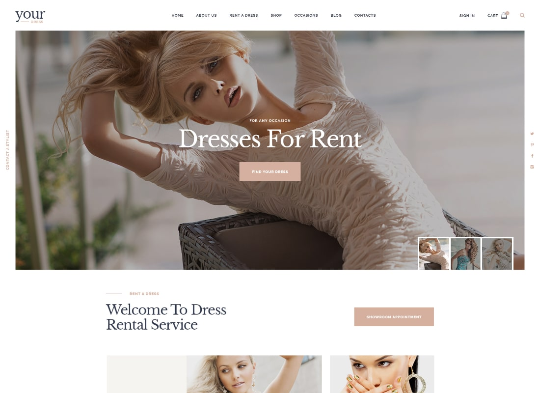 Your Dress | Clothes Rental Services WordPress Theme