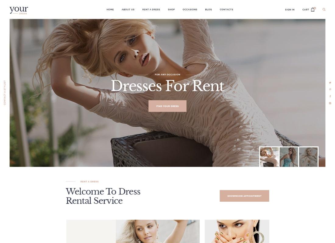 Your Dress | Dress Rent Rental Services WordPress Theme