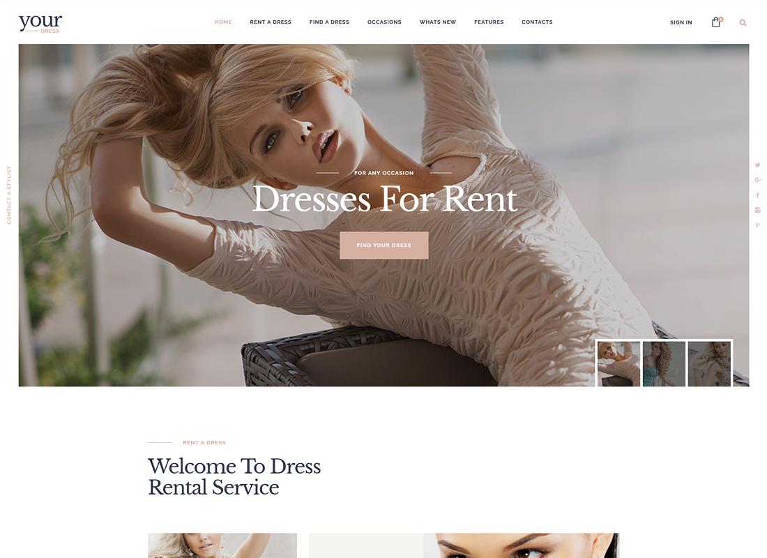 Your Dress - Dress Rent Rental Services WordPress Theme