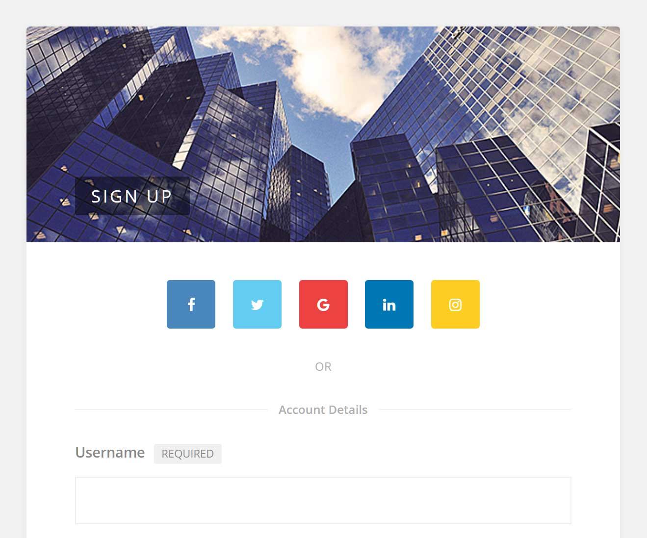 Youzer registration page