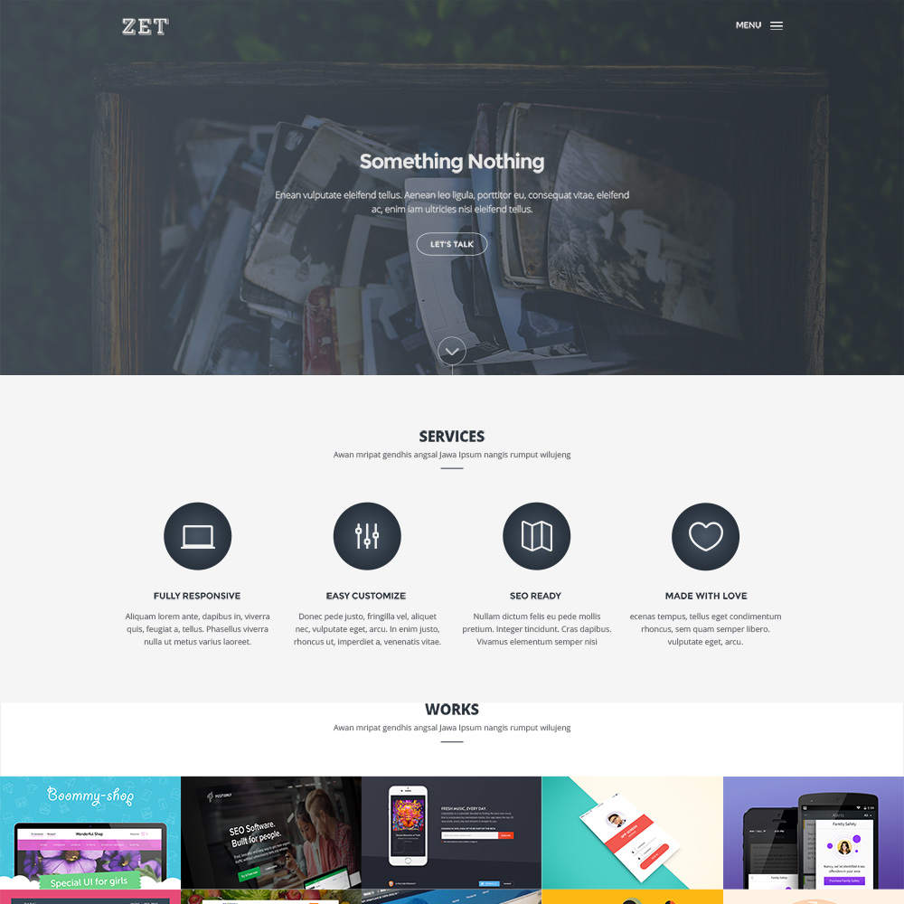 Zet Free PSD One Page Templates