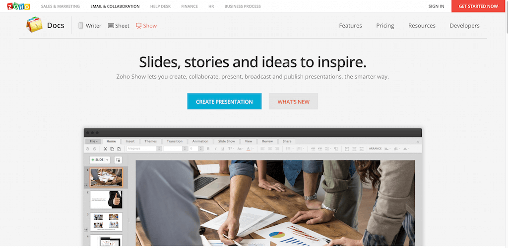 Zoho Docs Create and edit presentations online
