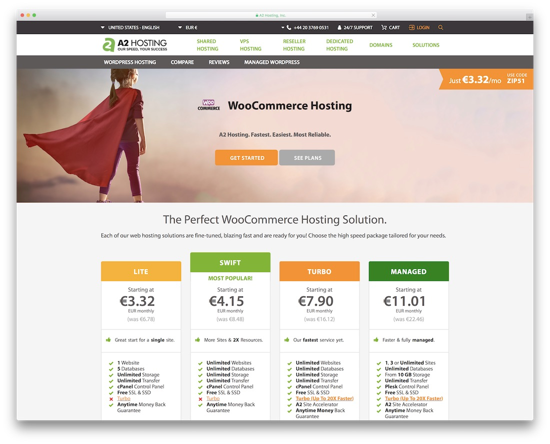a2 hosting for woocommerce
