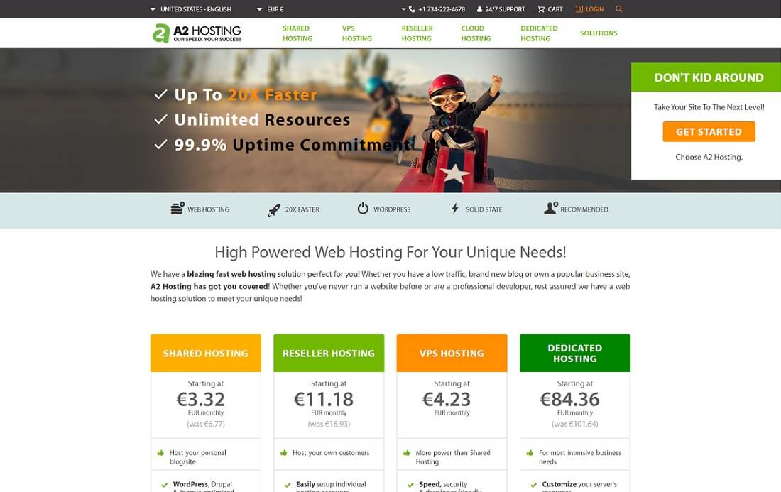 a2 web hosting personal website