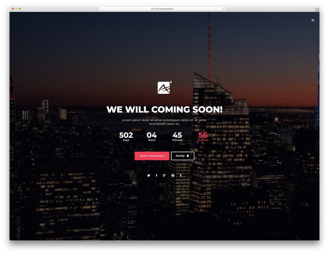 a3 coming soon website template