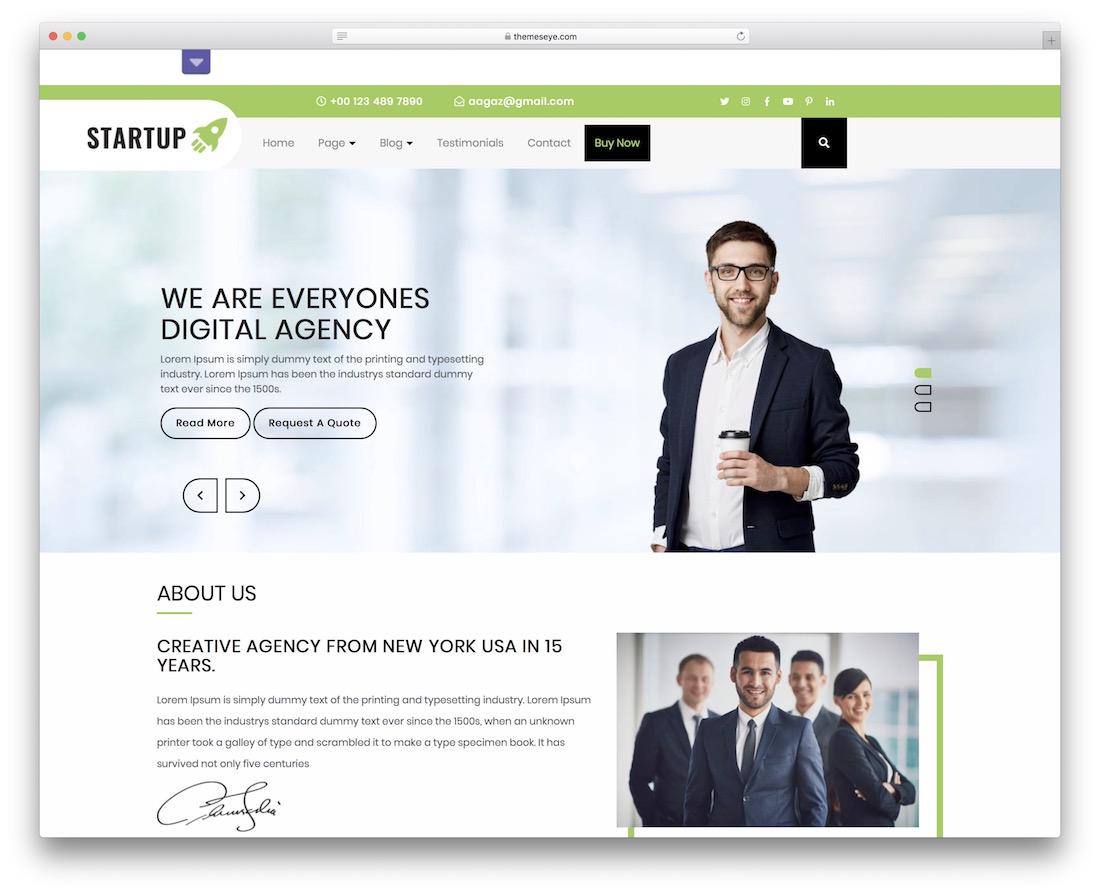 aagaz startup free wordpress theme