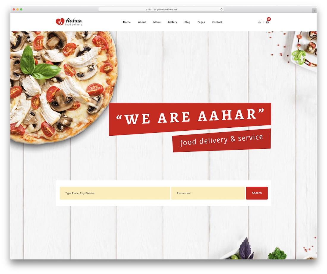 aahar food website template