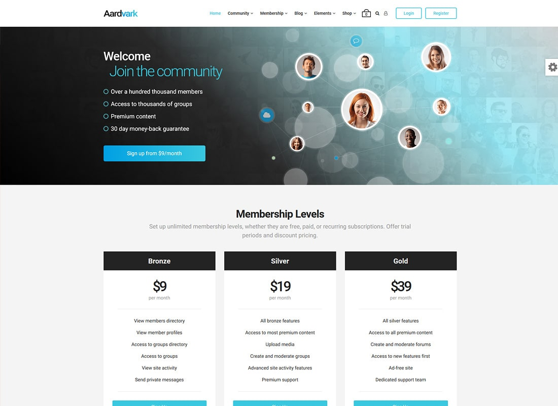 Aardvark | Community, Membership, WordPress BuddyPress Theme