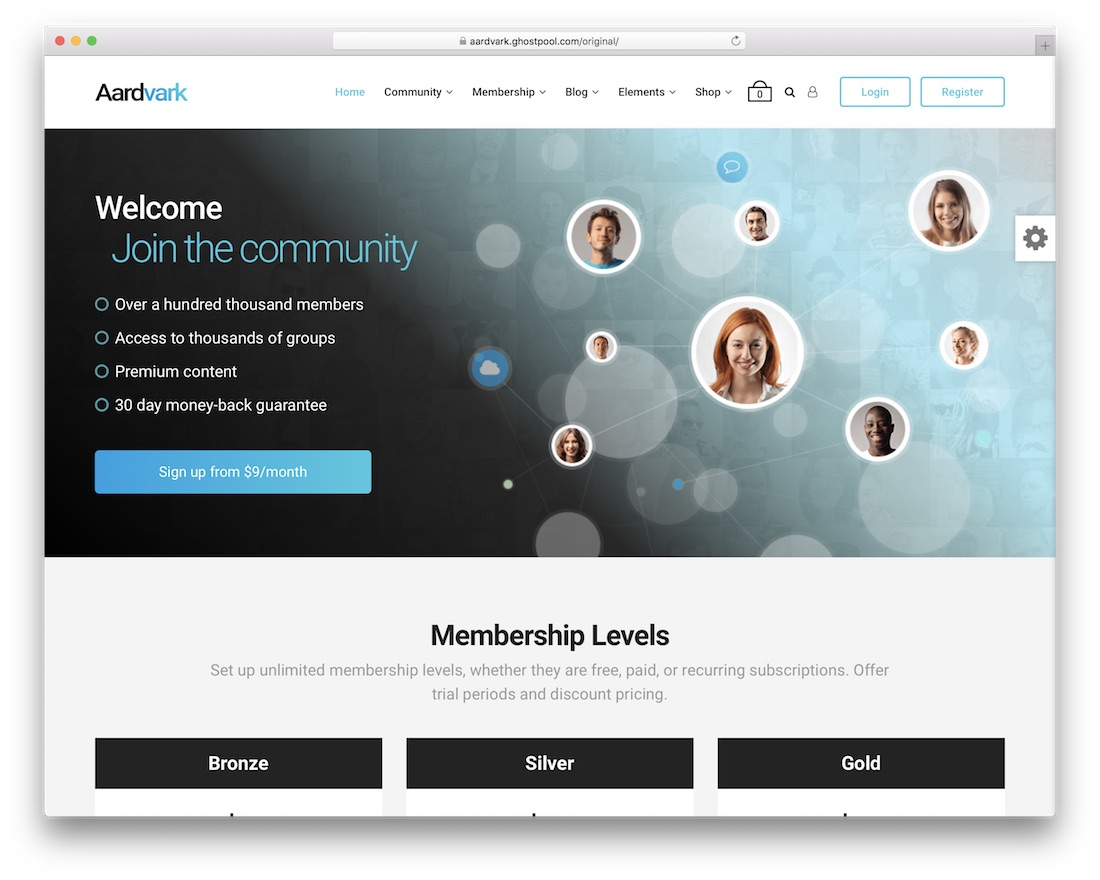 aardvark membership wordpress theme