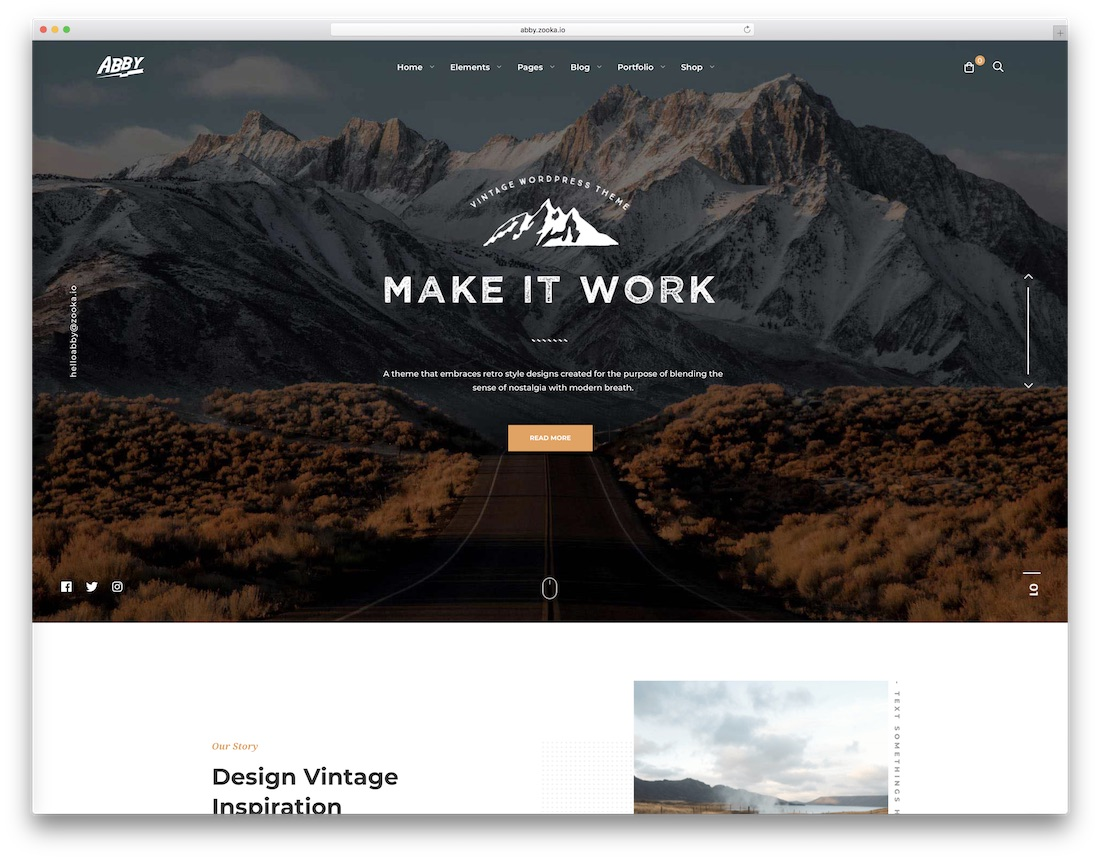 abby vintage retro style wordpress theme