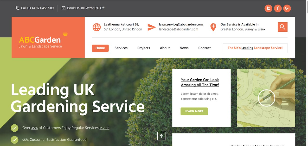 ABC Garden Is A Mindfully Crafted WordPress Template For Landscaping  Companies And Similar Businesses That Offer Services. Straight From The  Getgo You Can ...