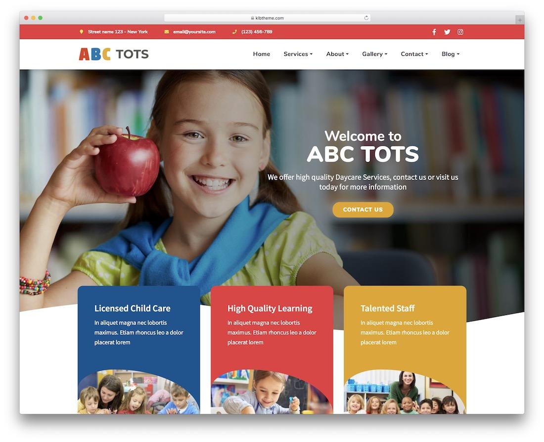 abc tots education website template