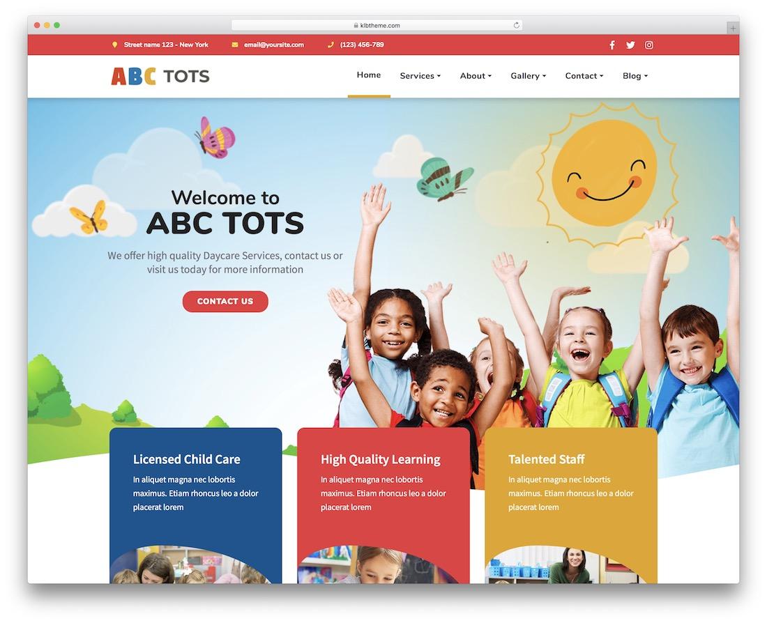 abc tots kindergarten wordpress theme