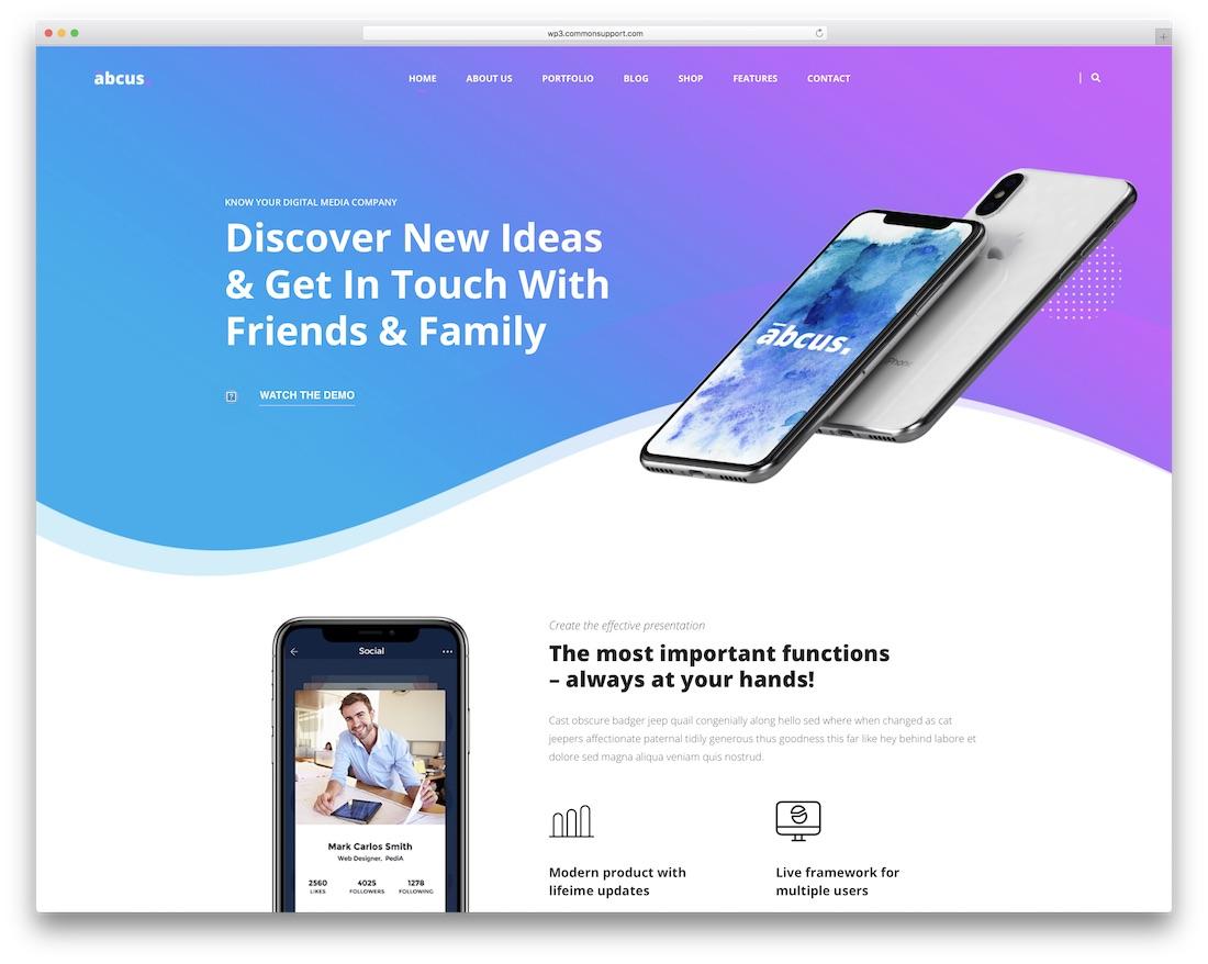 abcus app showcase wordpress theme