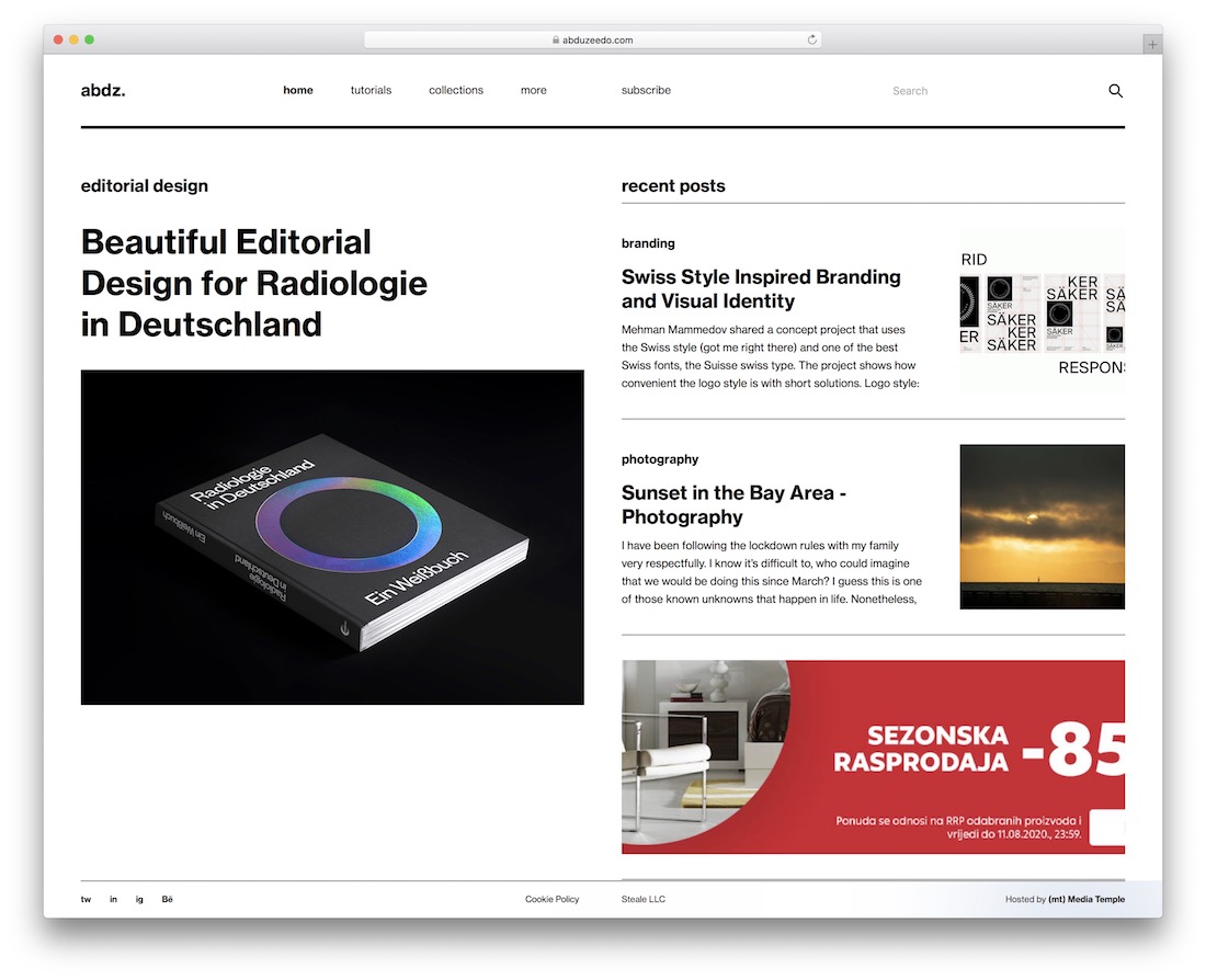 abduzeedo showcase inspiration site for web design