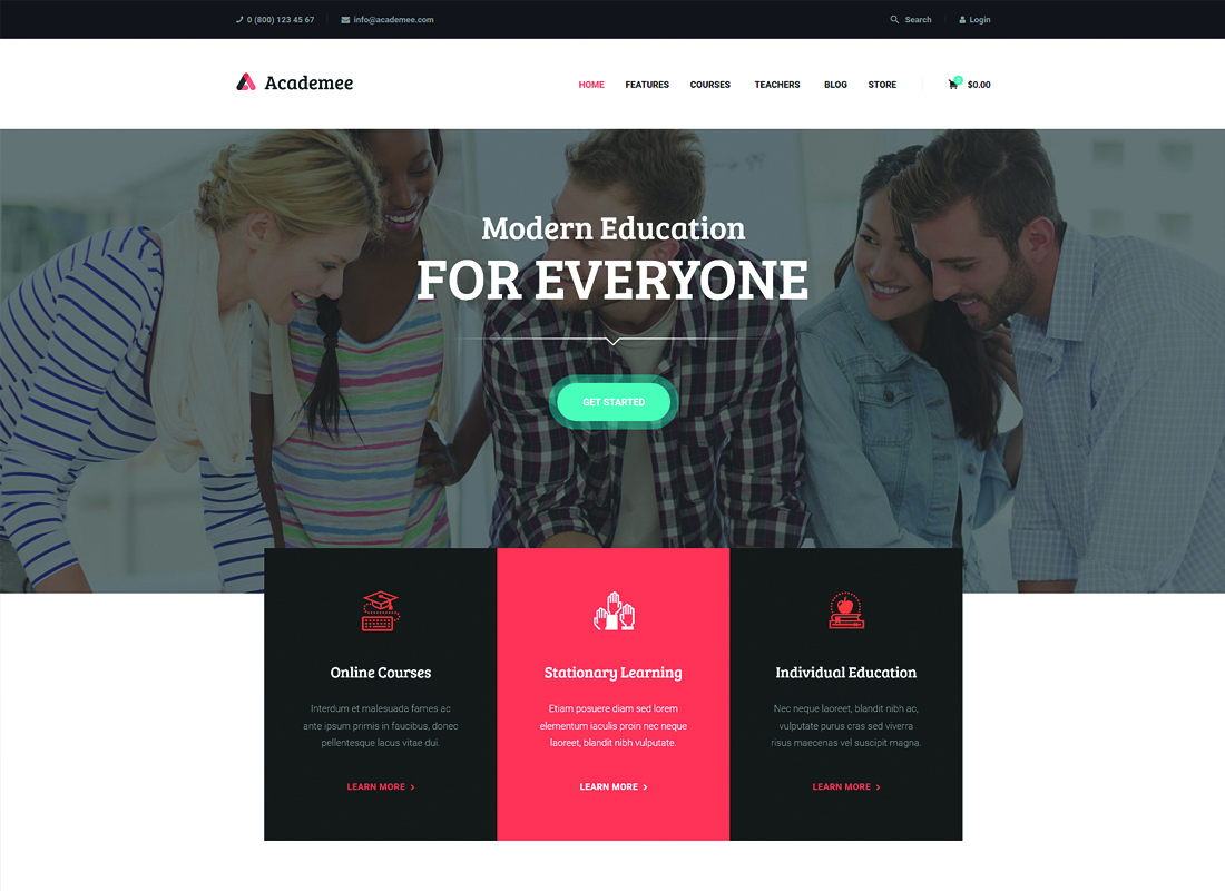 Academee - Education Center & Training Courses WordPress Theme