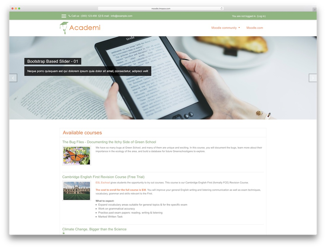 academi moodle bootstrap template