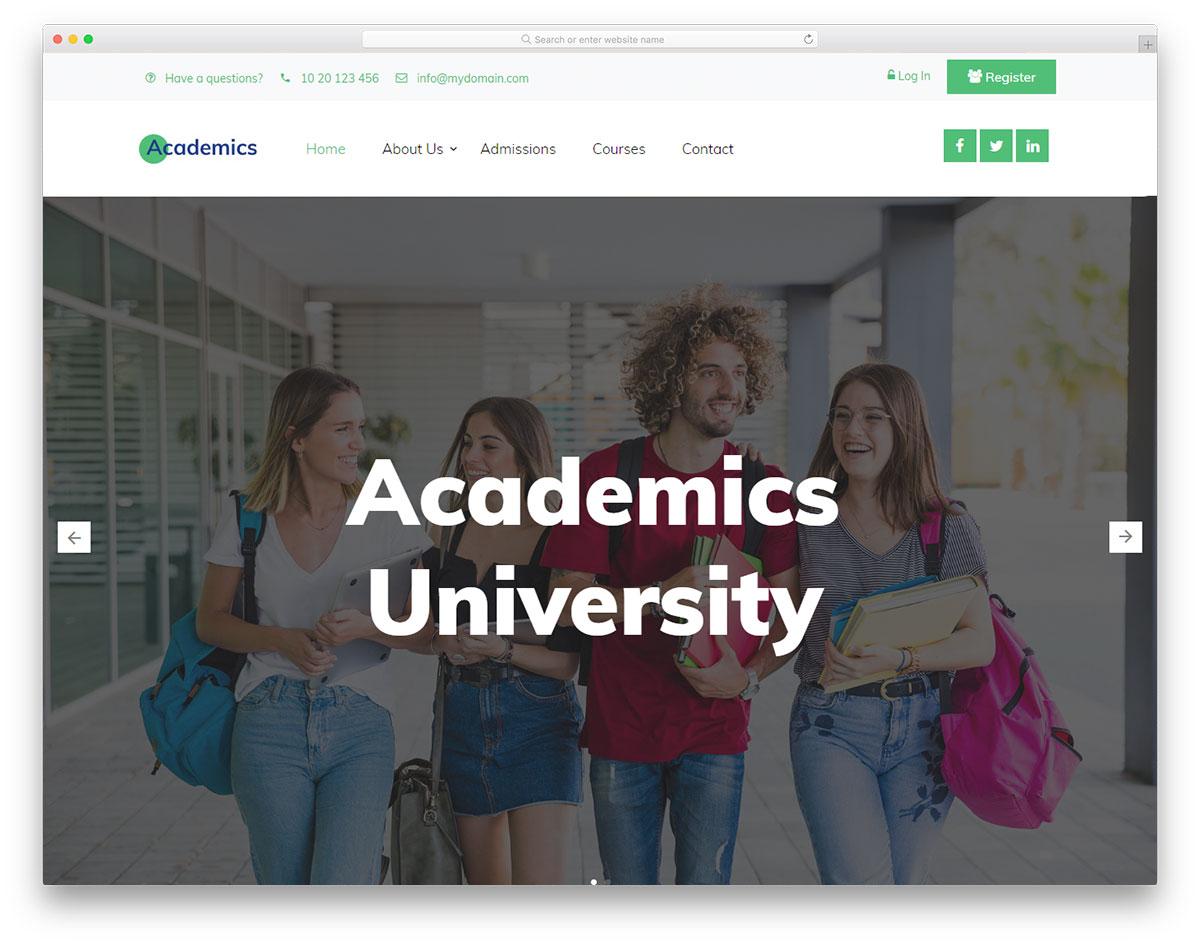 Скачать бесплатно html шаблон Academics